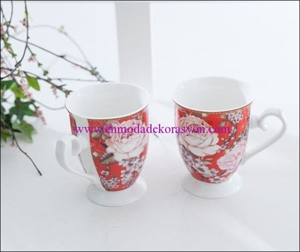 English Home Cherry Blossom porselen 2 li kupa-25 TL