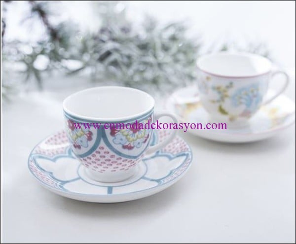 English Home bone china 2 li kahve fincanı-pembe-23.50 TL