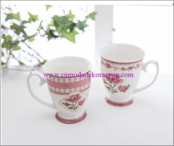 English Home bone china 2 li pembe kupa-23.50 TL