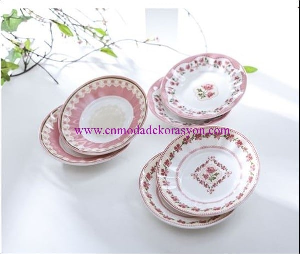 English Home bone china 6 lı çay tabağı-pembe-32,50 TL