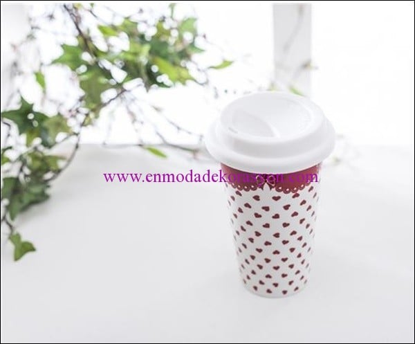 English Home bone china travel mug-kırmızı-18,50 TL