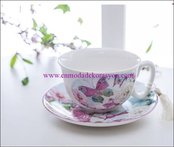 English Home kelebek porselen çay fincanı-mint-20 TL