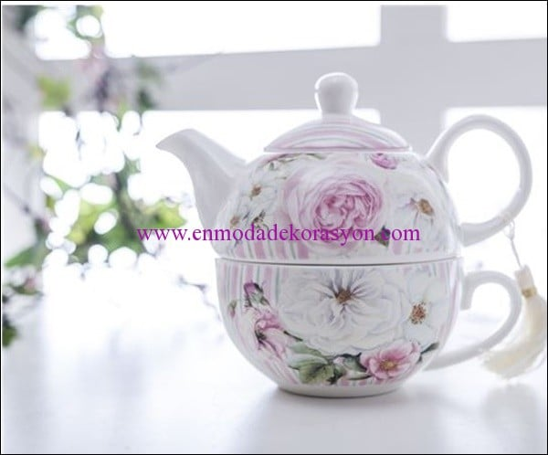 English Home pembe gül porselen herbal cup-gri-27,50 TL