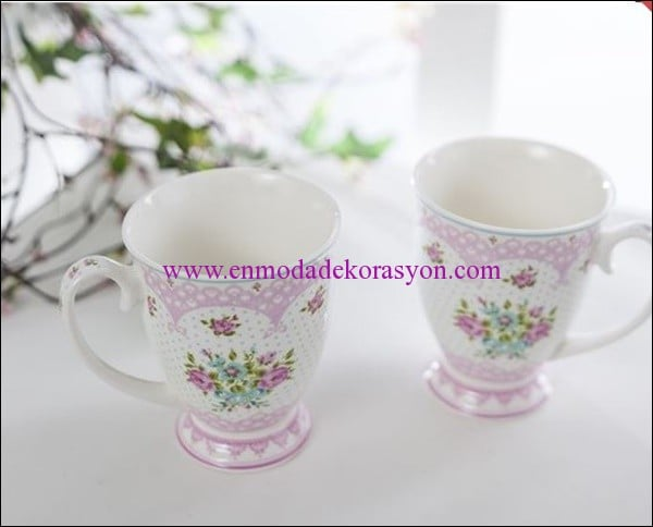 English Home rose and lace bone china 2 li kupa-20 TL