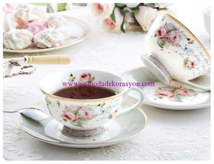 madame coco new bone china 2li çay fincanı seti-54 TL